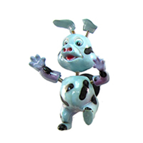 Light Blue Spotted Piggy Bobble Magnet