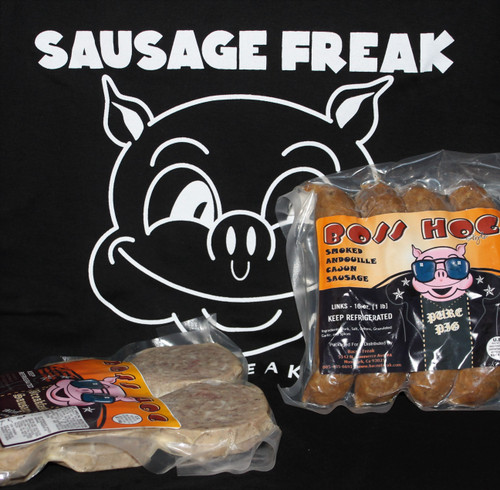 Sausage of the month club first delivery containing 2 packages of sausage and a sausage freak t-shirt.