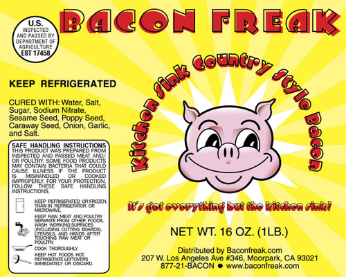 Bacon Freak Everything but the Kitchen Sink Bacon label