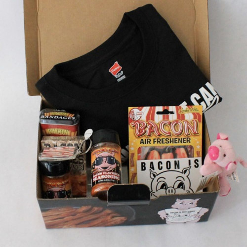 Bacon is Meat Candy Tshirt, bacon bandages, BIMC window decal, bacon keychain, bacon air freshener, 2 bacon flavored seasonings, magnetic plush piggy, bacon playing cards