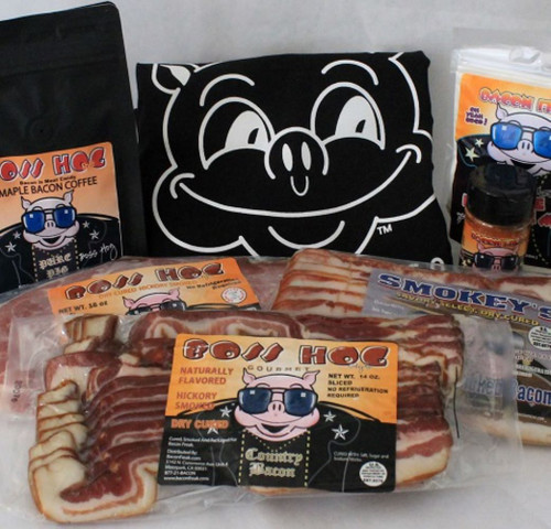 Good Morning Bacon Bundle consisting of two packs of bacon, one pack of ham steak, bacon flavored seasoning, maple pancake mix, maple bacon coffee beans and bacon is meat candy t-shirt