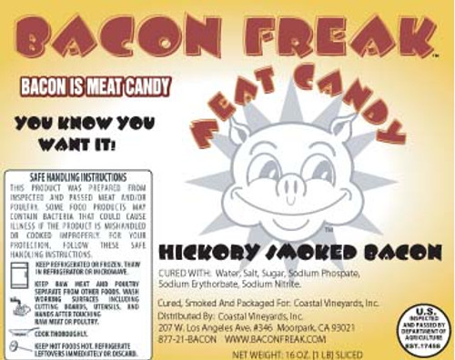 Bacon Freak Hickory Smoked Label