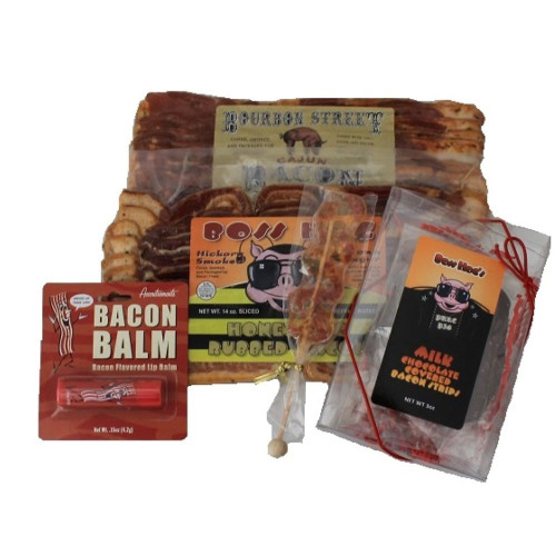 Bourbon St Cajun Bacon, Boss Hog Honey BBQ Bacon, Milk Chocolate Covered Bacon Strips, Honey Bacon Lollipop, Bacon Lip Balm