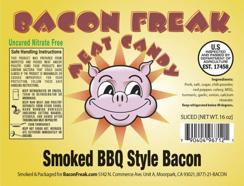 Bacon Freak Uncured BBQ Bacon Label