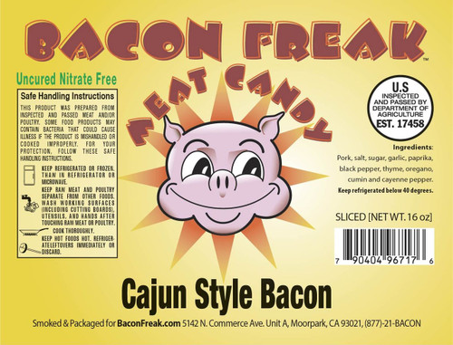 Bacon Freak Uncured Cajun Bacon Label