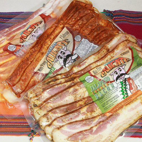 Three packs of Coastal Caliente Bacon, flavors are Jalapeno, Chipotle and Sriracha honey