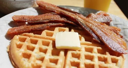 Sugar free bacon on waffles
