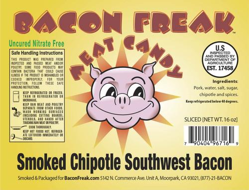 Bacon Freak Uncured Smoked Chipotle Southwest Bacon Label