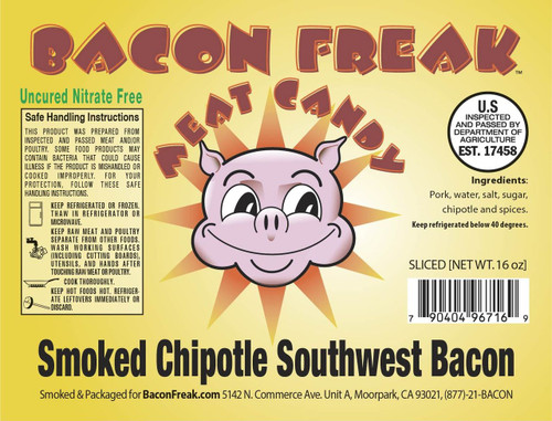 Bacon Freak Uncured Smoked Chipotle Southwest Bacon Label