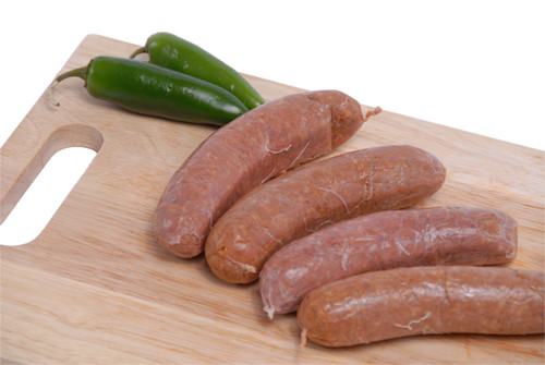 Chorizo Sausages on a cutting board.