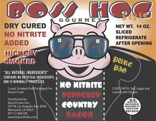 Boss Hog No Nitrite Pepper Country Bacon label