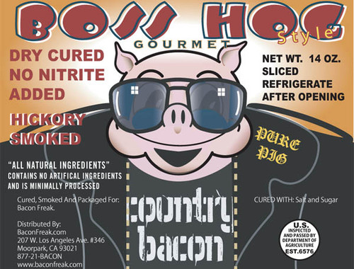 Boss Hog No Nitrite Hickory Smoked Country Bacon label