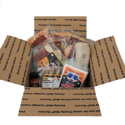 Holiday Beast Feast Bundle consisting of 6 packs of gourmet bacon, one package of smoked pork garlic sausages, grandma broadbent sausage, maple pancake mix, and bacon flavored seasoning.