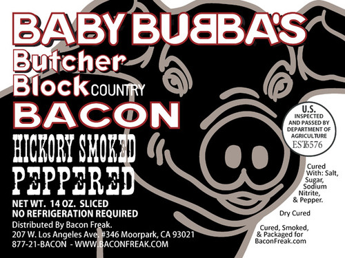 Baby Bubba's Butcher Block Peppered Bacon Label