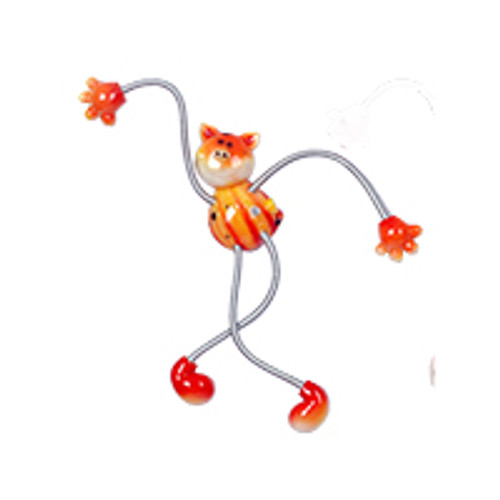 Orange Spotted Piggy Springy Magnet
