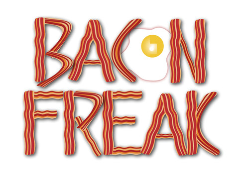 Bacon Freak Greeting Card with fried egg as O