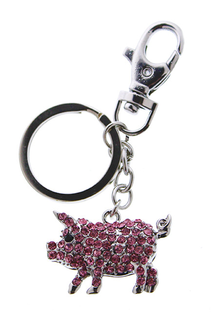 Sparkling Charm Pig Keychain