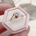 Low profile Moissanite engagement ring by Olivia Ewing Jewelry
