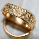 Tree bark wedding ring  for him by Olivia Ewing Jewelry