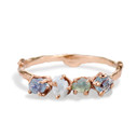 14K Rose Gold Garland Montana Sapphire Four Stone Ring by Olivia Ewing Jewelry