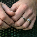 Rugged men's wedding rings by Olivia Ewing Jewelry