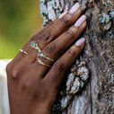 Rough cut nature engagement ring with montana sapphire by Olivia Ewing Jewelry
