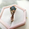 Teal Montana Sapphire engagement ring by Olivia Ewing Jewelry
