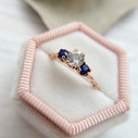 Nature inspired engagement ring white sapphire by Olivia Ewing Jewelry