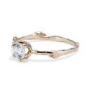 Nature inspired moissanite solitaire ring by Olivia Ewing Jewelry
