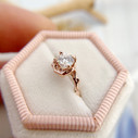 Nature inspired engagement ring with diamond by Olivia Ewing Jewelry
