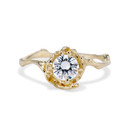 14K yellow gold twisted twig band engagement ring with 6mm diamond by Olivia Ewing Jewelry