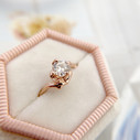 Rose gold Moissanite engagement ring by Olivia Ewing Jewelry