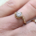 Unique yellow gold Moissanite engagement ring by Olivia Ewing Jewelry
