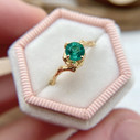 Unique emerald engagement ring by Olivia Ewing Jewelry