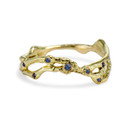 14K yellow gold pavé sapphire wedding band by Olivia Ewing Jewelry
