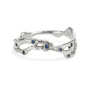 Platinum curved wedding band with small sapphires by Olivia Ewing Jewelry