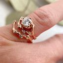Nature inspired engagement ring with Forever One Moissanite by Olivia Ewing Jewelry