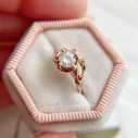 Unique Moissanite engagement ring by Olivia Ewing Jewelry