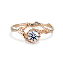 Unique 14K rose gold moissanite engagement ring  by Olivia Ewing Jewelry
