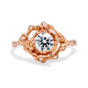 14K rose gold large halo engagement ring with diamond detailing by Olivia Ewing Jewelry