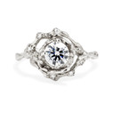 Platinum grooved engagement ring with tiny diamonds by Olivia Ewing Jewelry