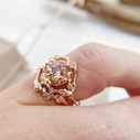 Morganite halo engagement ring by Olivia Ewing Jewelry