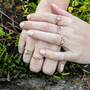 Morganite halo ring by Olivia Ewing Jewelry