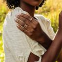 Morganite bezel set engagement ring by Olivia Ewing Jewelry
