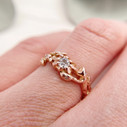 Low set diamond engagement ring by Olivia Ewing Jewelry