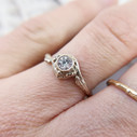 Low profile diamond engagement ring by Olivia Ewing Jewelry