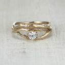 Nature wedding and engagement ring set by Olivia Ewing Jewelry