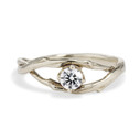 14K white gold twisted twig diamond ring by Olivia Ewing Jewelry