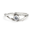 Platinum entangled tree branch ring with diamond by Olivia Ewing Jewelry