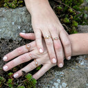 Moissanite twig engagement ring by Olivia Ewing Jewelry